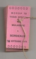 LOT DE 9 TICKETS MOROP TRAIN SPECIAL MULHOUSE A BORDEAUX 10/09/79  RONDELLE TYPE PLOMB MARQUEE SNCF IMP BILLETS CPA603 - Chemins De Fer