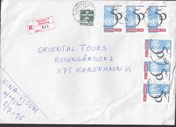 Denmark Registered Einschreiben Recommandé Label RANDERS (17.) 1995 Cover Brief 2x 3-Stripes FN UN World Summit Copenhag - Dänemark