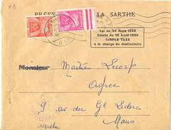PREFECTURE DE LA SARTHE Loi Du 29 Mars 1889 ... SIMPLE TAXE à La Charge Du Destinataire SECAP + TàD LE MANS 10-1953 - Taxes