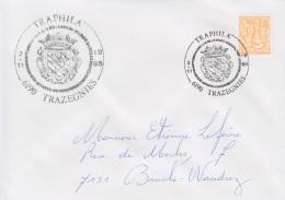 Enveloppe (1985-11-02, 6190 Trazegnies) LH - Armoiries Du Château De Trazegnies - EL - Poststempels/ Marcofilie