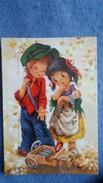 CPSM DESSIN ENFANTS JOUANT PETIT COUPLE PAUVRE POUPEE VOITURE A PEDALES BOIS - Dessins D'enfants