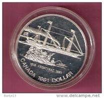 CANADA DOLLAR 1991 SILVER SS FRONTENAC SHIP 1816 SPOTS ON CAPSEL - Canada