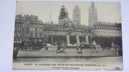 ROUEN 76 M FALLIERES AUX FETES DU MILLENAIRE NORMAND Frithjof Croiseur Norvegien CPA Animee Postcard - Rouen