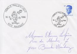 Enveloppe (1986-08-30, 6210 Ransart) RB - Enfant Sur Une Planche à Roulettes - EL - Poststempels/ Marcofilie