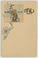 Menu 1900. Illustration Art Nouveau. Femme Sur Une Bicyclette. Vélo. - Menus
