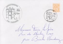 Enveloppe (1986-11-08, 6190 Trazegnies) LH - Pont-levis Du Château De Trazegnies - PL - Poststempels/ Marcofilie