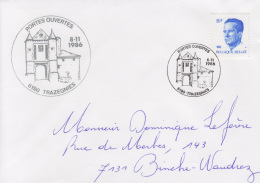 Enveloppe (1986-11-08, 6190 Trazegnies) RB - Pont-levis Du Château De Trazegnies - DL - Poststempels/ Marcofilie