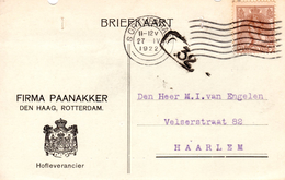 1922 Bk Met Firmalogo Van DEN HAAG/ROTTERDAM Naar Haarlem - Poststempel