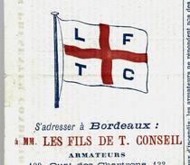 """1883 RECEPISSE CONNAISSEMENT LIGNES MM. LES FILS DE T.CONSEIL """"L.F.T.C."""" Pour LISBONNE VINS LIQUEURS B.E.VOIR SCANS - 1800 – 1899"""