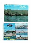 Lot 2 Cpm - Souvenir De TOULON - Bateaux De Guerre à Quai / Ensemble De L'escadre - Beret De Marin - Warships