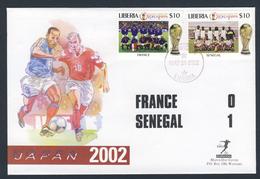 Liberia 2002 Cover / Brief + Mi 4552 + 4565 - FIFA World Cup 2002 - Match: France - Senegal / Fußball-Weltmeisterschaft - 2002 – Corea Del Sud / Giappone
