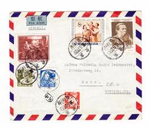 China 1956 Luftposbrief Mit Bunte Frankatur In Die Schweiz - 1949 - ... République Populaire