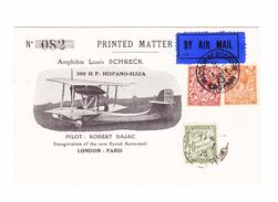 GB WADDON AERODROME 01-07-1925 Erstflug London-Paris Aero-mail Offizielle Illustrierte Karte 300HP Hispano-Suiza Nach Pa - Entiers Postaux