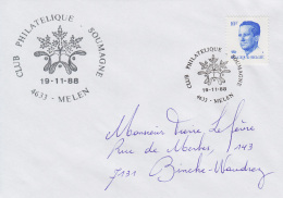Enveloppe (1988-11-19, 4633 Melen) - Branche De Sapin Et Feuilles De Gui - PL - Poststempels/ Marcofilie