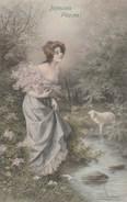 Illustrateur WICHERA - Joyeuses Pâques - Femme Mouton - VIENNE 317 - Carte 1 - Wichera