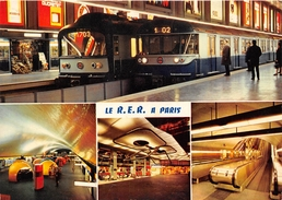 75-PARIS- LE METRO REGIONAL R.E.R MULTIVUES , EN HAUT STATION CHARLES GAULLE ETOILE, EN BAS STATION AUBER - Métro Parisien, Gares