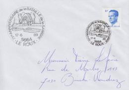 Enveloppe (1989-06-17, 5664 Le Roux) - Stèle Française Dans Le Cimetière De ' La Belle Motte ' - PL - Poststempels/ Marcofilie