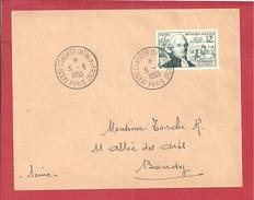 Y&T N°1021 PARIS (CONGRES INSTAL DU FROID)  Vers BONDY 1955 - France