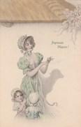 Illustrateur  - Joyeuses Pâques -  VIENNE 213 - Femme Enfant Ombre Chinoise Mouton - Carte 2 - Non écrite - Vienne