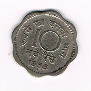 ) INDIA  10  NAYE  PAISE  1958 - Inde
