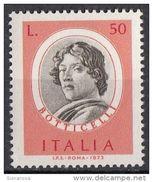 """1325 Italia 1973 """" Presunto Autoritratto """" Quadro Dipinto Dal A. Botticelli - Nuovo MNH Rinascimento Paintings Tableaux - Arts"""