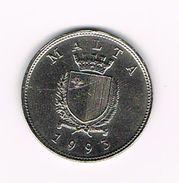 ) MALTA  25 CENTS  1993 - Malte