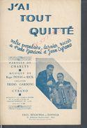 ANCIENNE PARTITION MUSICALE CHARLYS J AI TOUT QUITÉ F. GARDONI & CYRANO : - Partitions Musicales Anciennes