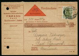 A4689) DR Infla Nachnahmekarte Von Karlsruhe 11.10.20 Perfin WOLFF - Deutschland