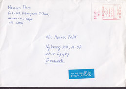 Japan BY AIR MAIL PAR AVION Label Meter Stamp Cover TOSHIBABLG To LYNGBY Denmark - Airmail