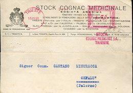 22470, Italia , Red Meter/freistempel/ema/ Trieste 1928 Stock Cognac Medicinale Sa. Trieste , Circuled  Card - Poststempel - Freistempel