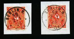 A4690) DR Infla 2 Briefstücke Mi.172 Gestempelt Gepr. Infla - Deutschland