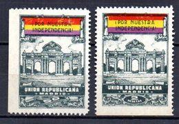Viñetas Nº 8/9 Madrid. Union Republicana. 50cts-2pts. - Spanish Civil War Labels