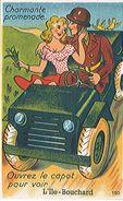 L'ILE BOUCHARD (37) Très Belle Carte Système Dépliant 10 Vues Dans Le Capot De La Jeep - Très Très Rare - écrite Au Dos - L'Île-Bouchard