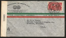 J) 1942 MEXICO, EAGLE MAN, OPENED BY EXAMINER, AIRMAIL, CIRCULATED COVER, FROM MEXICO TO WISCONSIN - Mexico