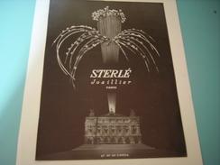 ANCIENNE PUBLICITE JOAILLIER STERLE PARIS OPERA 1954 - Bijoux & Horlogerie