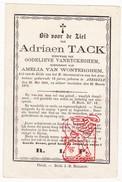 DP Adriaen Tack ° Aerseele Aarsele Tielt 1801 † 1873 X G. VanRyckeghem Xx A. Van Wonterghem - Devotieprenten