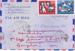 TRANS WORLD AIRLINES AEROGRAMME 1962 - BOOKED FROM BUNDES POST FOR MADRAS, INDIA - RETOUR TO BANGALORE - [7] République Fédérale