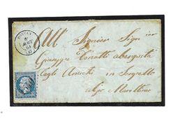 FRANCE, Lettre 1864 Expédiée De FONTAN - 1863-1870 Napoleon III With Laurels