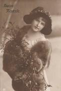 12549) AUGURALE BUON NATALE RAGAZZA CON RAMETTO DI VISCHIO VIAGGIATA 1913 - Andere