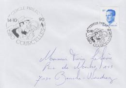 Enveloppe (1990-10-13, 6180 Courcelles) - Lucky Luke - PL - Poststempels/ Marcofilie