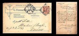 Vicenza - G. Pennacchio E L. Tosetti - Birraria Stati Uniti - 18.1.1908 - Pubblicitari