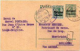 BELGIUM / BELGIEN 1915. German Occupation - Entire Card From Liège/Luik To Maastricht - Guerre 14-18