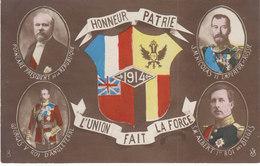 1914,l'union Fait La Force, 4 Chefs D'états Alliés En Médaillon Et Les Drapeaux - Guerre 1914-18