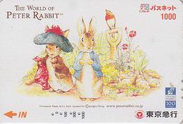 Carte Prépayée Japon - PIERRE LAPIN & Oiseau Rouge Gorge - PETER RABBIT & Robin Bird Japan Prepaid Card  - BD COMICS 27 - BD