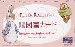 Carte Prépayée Japon - Oiseau HIBOU & PIERRE LAPIN - OWL Bird & PETER RABBIT Japan Tosho Card - BD COMICS 35 - BD
