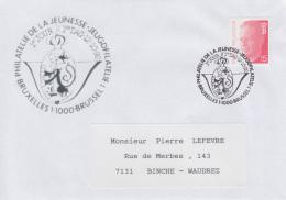 Enveloppe (1992-10-12, Bruxelles 1 1000 Brussel 1) - Chat De Gaston Lagaffe - PL - Poststempels/ Marcofilie