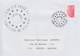 Enveloppe (1992-10-24, 6180 Courcelles) - Symbole De L'Europe Réunie - DL - Poststempels/ Marcofilie