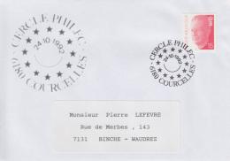 Enveloppe (1992-10-24, 6180 Courcelles) - Symbole De L'Europe Réunie - PL - Poststempels/ Marcofilie