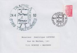 Enveloppe (1993-04-24, 6183 Trazegnies) - Chevalet De Peintre - DL - Poststempels/ Marcofilie
