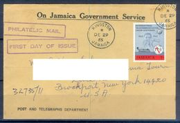 D357- Postal Used Cover Post From Jamaica To USA. Joint Issue. ITU. - Jamaica (1962-...)